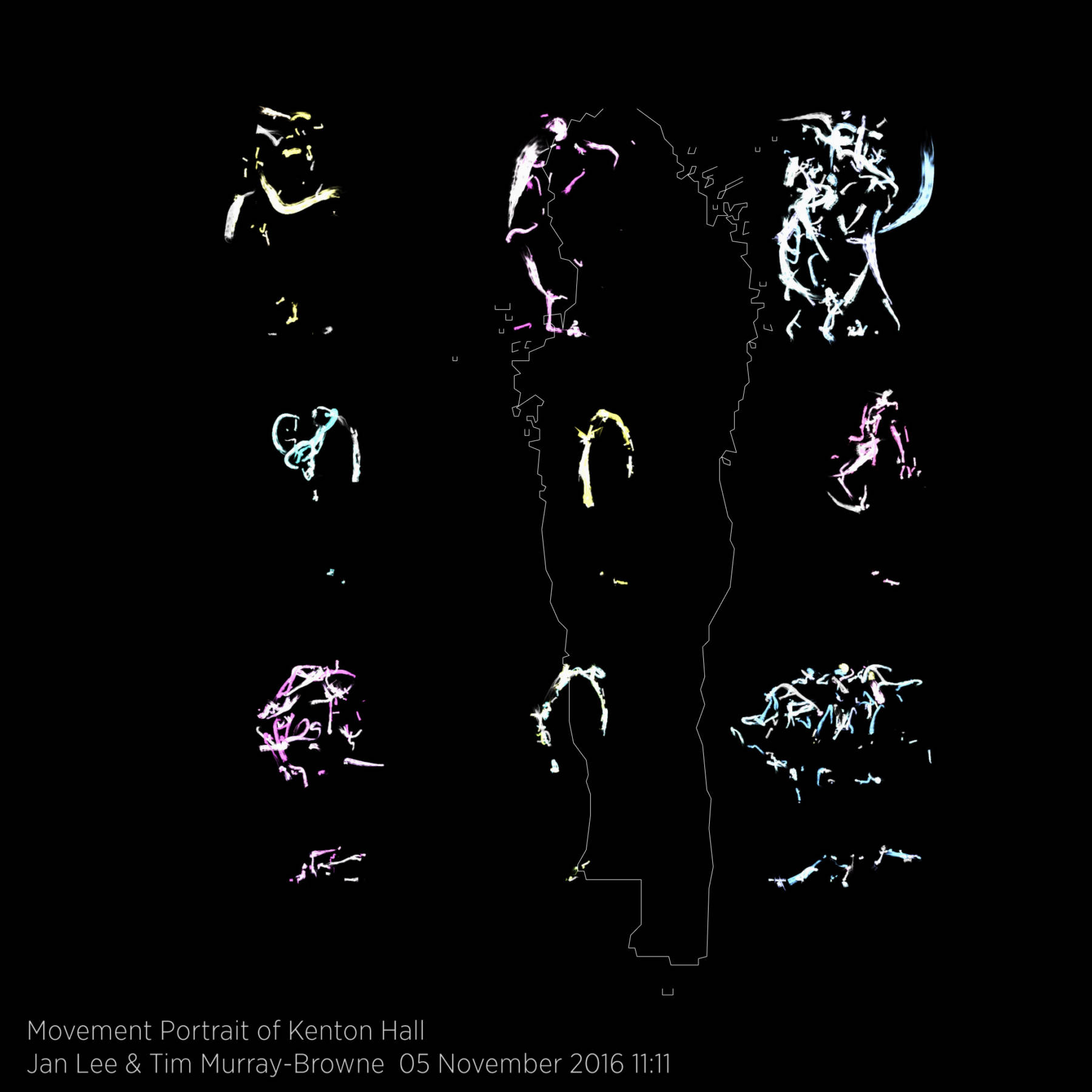 Movement Portrait of Kenton Hall by Jan Lee and Tim Murray-Browne. The portrait is made up of 9 significant moments from the immersive experience, arranged into a grid. Each shows marks drawn by parts of the body as sensed by a 3D camera through a process akin to a calligraphy of the body. Overlaid on top is the outline of the participant at the moment when the portrait was finalised. Part of Movement Alphabet by Jan Lee & Tim Murray-Browne. Taken at G.A.S. Station, 5 Nov 2016.